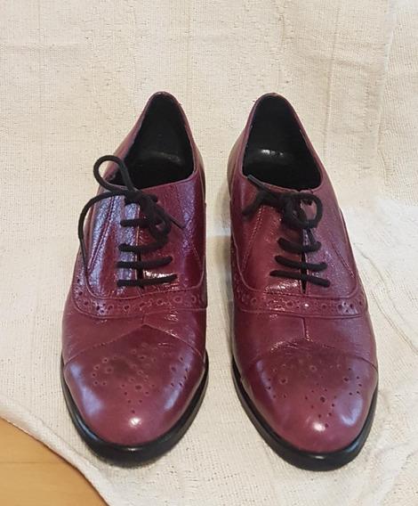 Zapatos Para Mujer De Cuero Color Guinda Marca Clona.