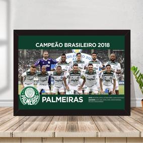 Pôster Quadro Palmeiras Campeão C/ Moldura E Vidro 33x43cm 1