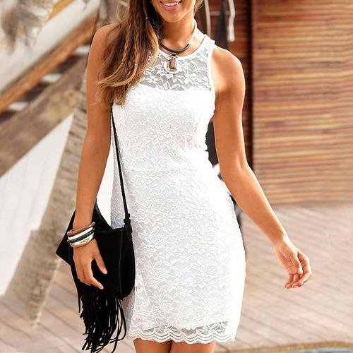 Vestido De Encaje Blanco Delgado Playa Nuevo Importado