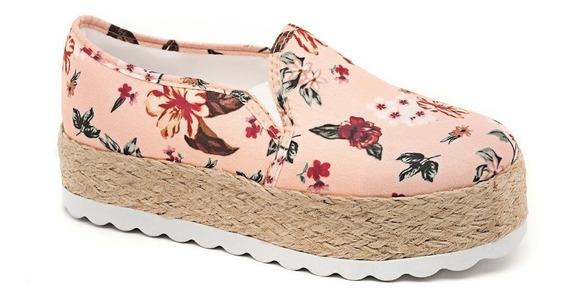 Slip On Estampa Floral Laranja