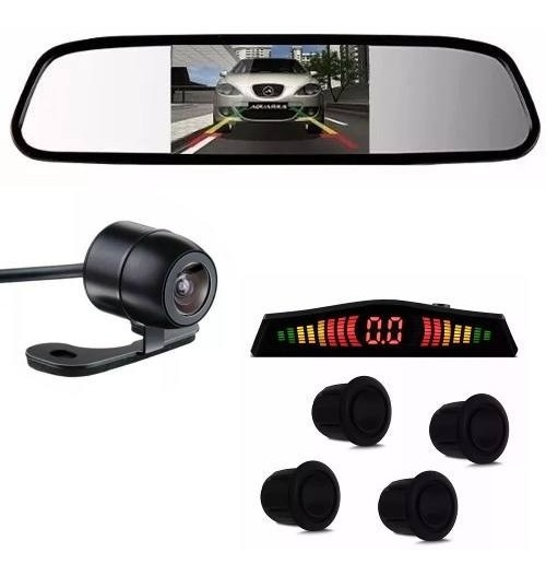 Kit Sensor De Estacionamento Preto Camera De Re Espelho Lcd