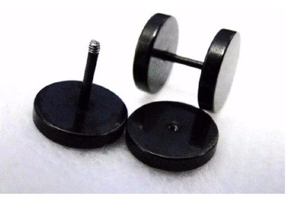 Brinco Masculino Falso Alargador 10 Mm 1 Unidade Aço Preto