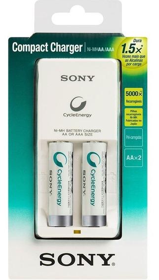 Carregador Sony + 2 Pilhas Recarregáveis Premium Aa Bivolt