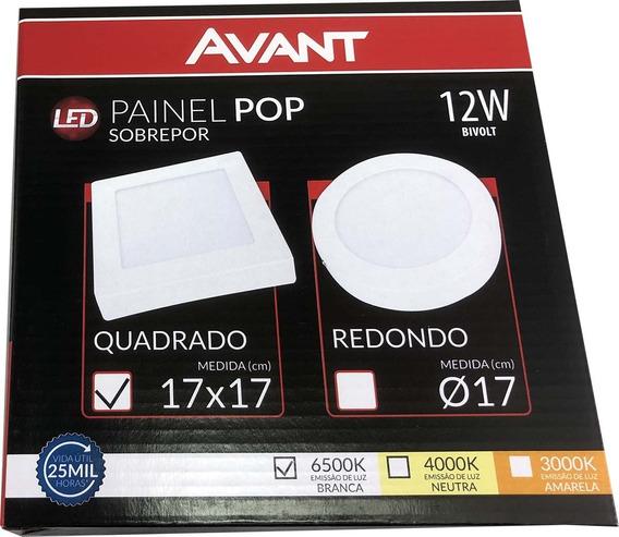 Plafon Sobrepor 12w Led Quadrado Painel Spot Luminaria Avant