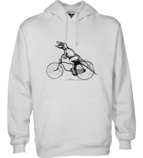 Sudadera Hoodie C/gorro Estampada De Dinosaurio En Bicicleta