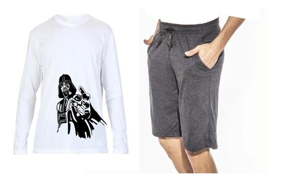 Pantalón Pijama Corto/remera Manga Larga /para Personalizar