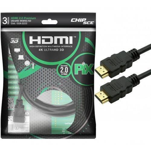 Cabo Hdmi 3 Metros 2.0 19 Pinos Ethernet 4k Ultrahd 3d