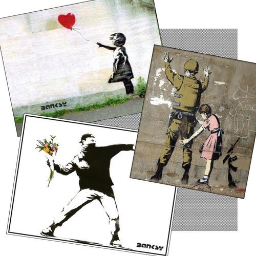 3 Poster De Parede Banksy Arte Urbana Grafite