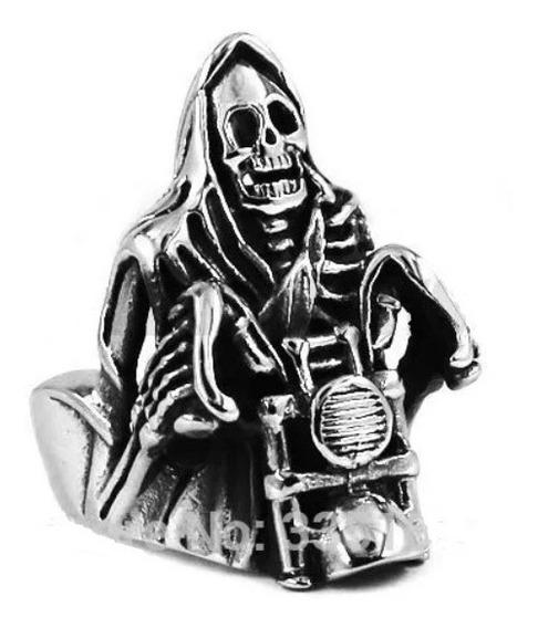 Anel Reaper Skull Moto Motociclista Aço Inoxidável 316 L