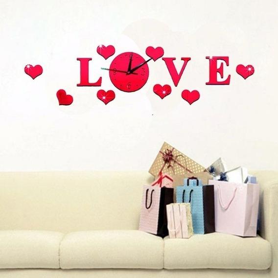 Reloj De Pared Love Corazones En Acrilico Color Rojo
