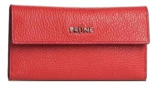 Billetera Prüne Chicago roja graneado cuero