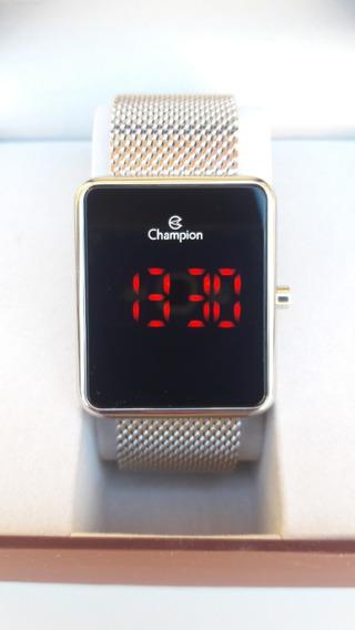 Relógio Champion Prata Unisex Led Digital Ch40080t