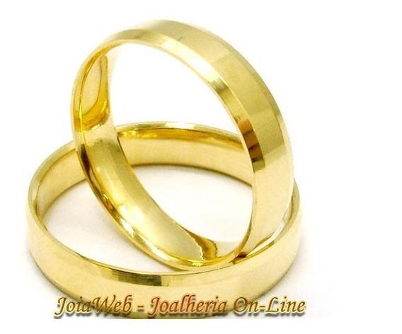 Joianete Aliança Ouro18k 5gr(par)chanfrada S/solda Casamento