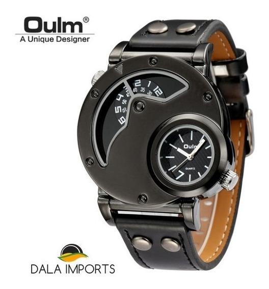 Relógio Masculino Militar Oulm Grande Couro + Caixa Promoção