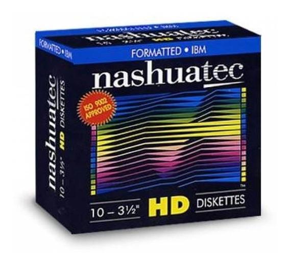 Caixa Disquete Diskette 10 Unidades 3 1/2 Preto Novo