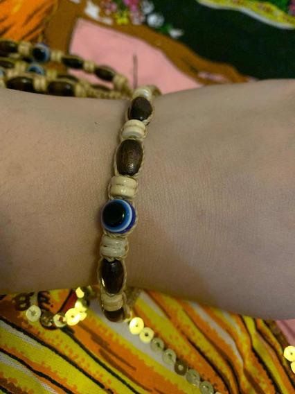 Pulseira Artesanal Amuleto Com Olho Grego Contra O Mal