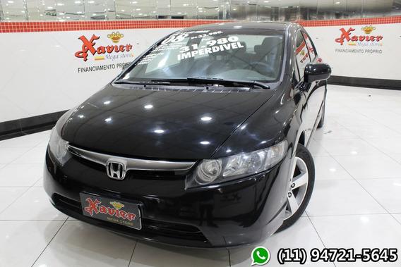 Honda Civic Lxs 1.8 2008 Preto Financiamento Próprio 2213