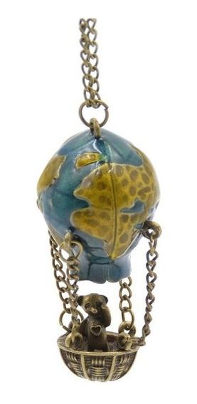Colar Com Pingente Ursinho No Balão De Ar Planeta Terra