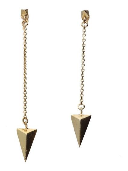 Aretes De Plata 925 Baño De Oro Piramide Gayatri