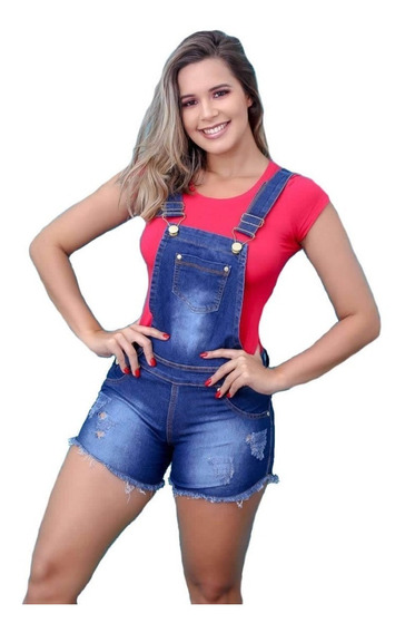 Jardineira Jeans Short Feminina Lycra Botões Jad05