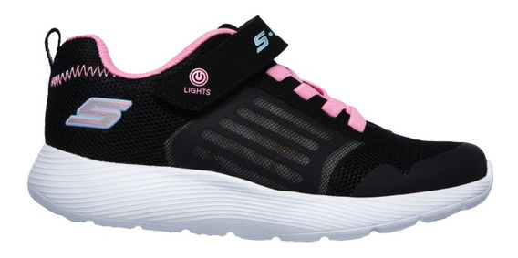 Skechers Zapatillas Running Niña Dyna Lights Negro-rosa Ras