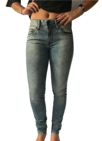 Calça Jeans Feminino Skinny Azul Justa Pants Cintura Média
