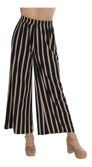 Pantalones Mujer Anchos Rayas Negro Dorado Moda W91202
