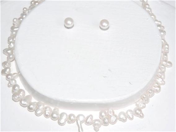 Collar Perla Blanca Cultivada Oferta Hasta 12 Mm Doble