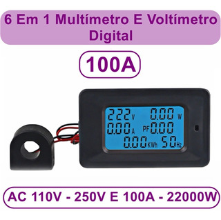 Medidor Energia 6x1 100a Amperimetro Voltimetro Wattimetro Frequencia Fator De Potência Energia 110-250v Ca