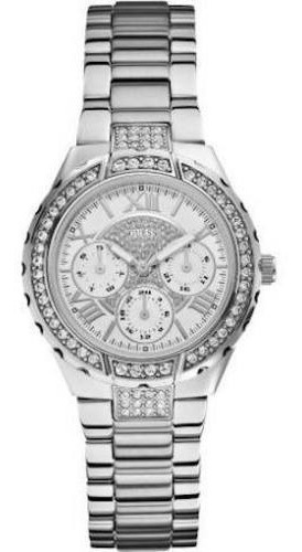 Relógio Feminino Guess W0111l1 Prata Strass Pronta Entrega