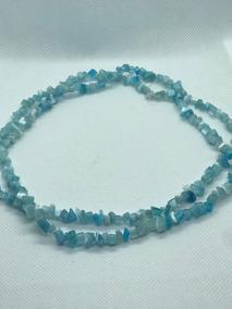 Colar Fio De Pedras Naturais Azul Clara