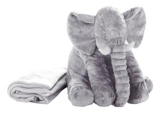 Peluche Elefante Con Cobija 60cm Manta Felpa Almohada