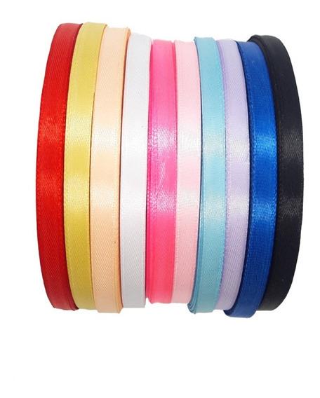 10 Rollos Cinta De Raso 0.5 Cm X 25 Yardas Colores