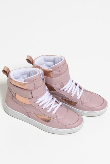 Sneakers Couro Com Detalhe Metalizado