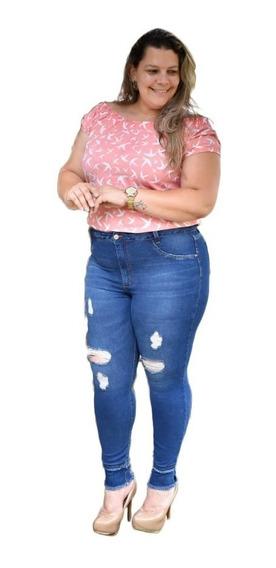 Calça Jeans Feminina Plus Size Cintura Alta 46 A 60 C/ Lycra