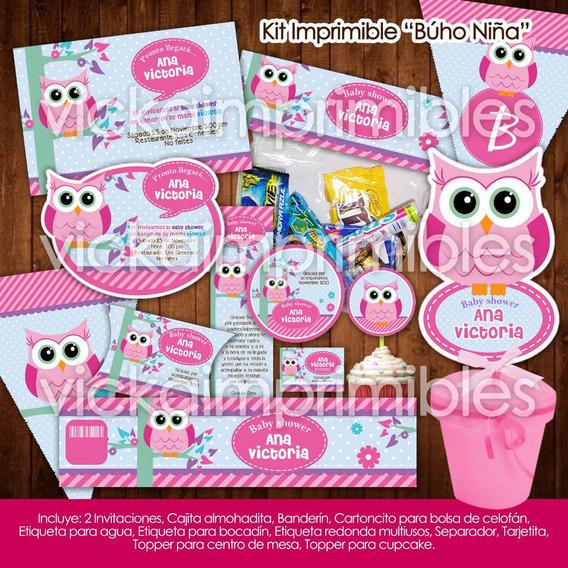 Kit Imprimible Baby Shower Búho Niña Invitaciones Etiquetas