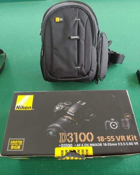 Camera Profissional Nikon D3100 18-55 Vr Kit Frete Grátis