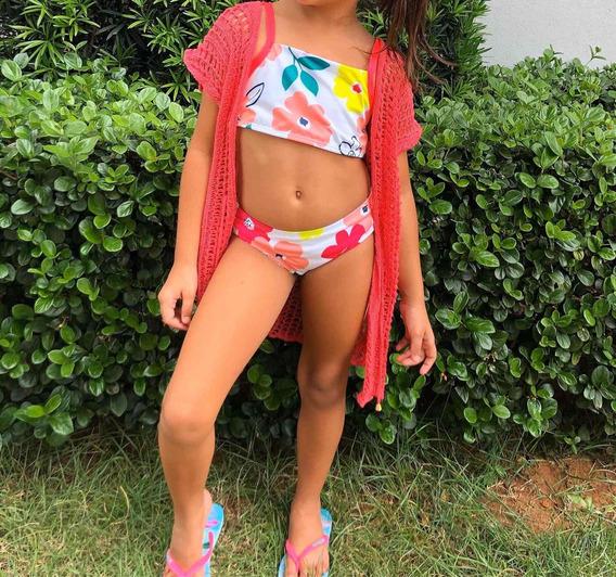 Saída Infantil De Praia Piscina Tricô Canga 4 A 6 Anos