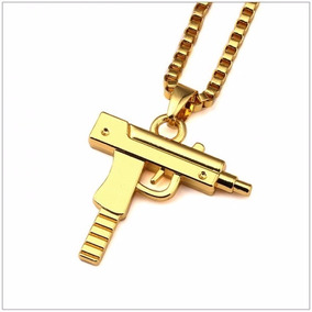 Colar + Pingente Hip Hop, Funk Revolver, Pistola Automática