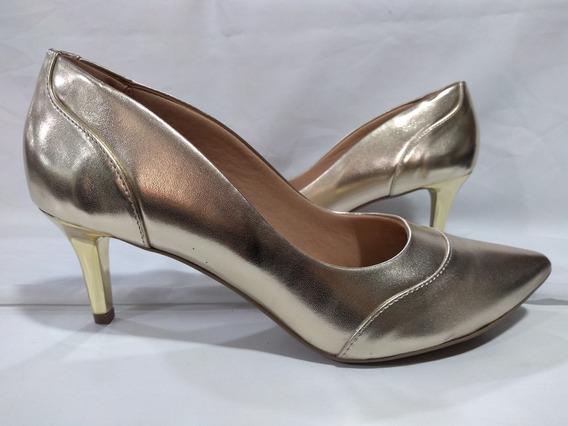 Scarpin Feminino Numeros Especiais 44002 Light Gold
