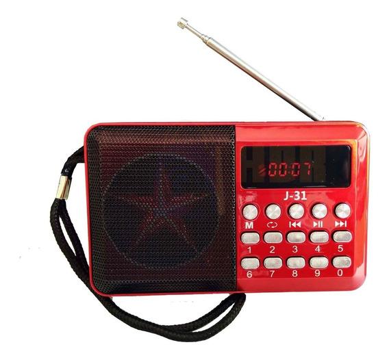 Mini Rádio Fm/usb/cartão De Memória J31 Altomex Vermelho