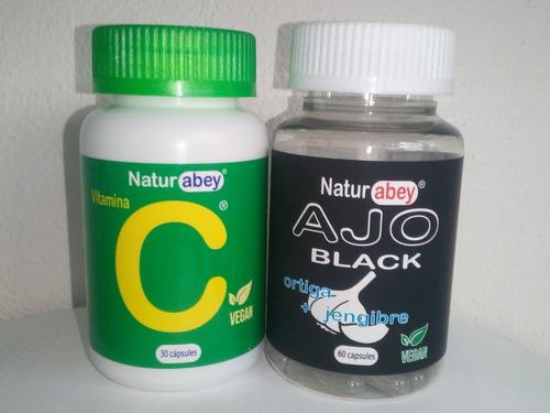 Vitamina C Y Ajo Negro Abey, Frascos Con  60 Cápsulas Cu.