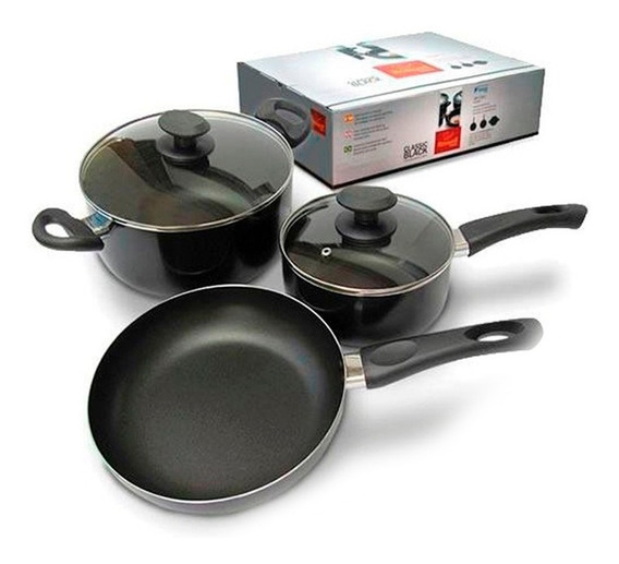 Bateria Cocina 5 Pz Roswell Ceramica Sarten Cacerola Antiadh