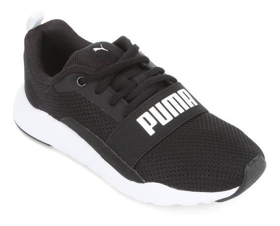 Tênis Puma Wired Os Infantil - Preto E Branco