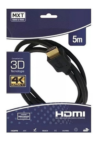 Cabo Hdmi 2.0 Ultrahd 4k 3d 30awg 5 Metros Gold Dourado Mxt