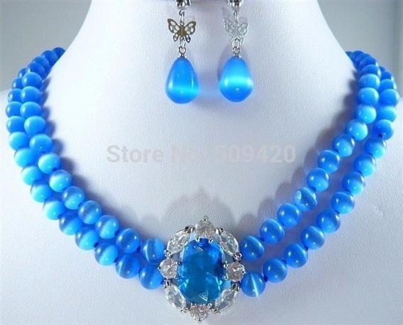 Colar E Brinco Feminino Prata Pedra Opala Azul Mexicana