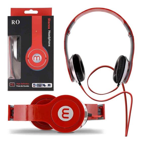 Fone Ouvido M Headphone Smartphone Celular Mp3 Vermelho