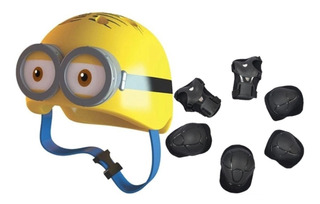 Capacete Proteção Skate Bike Patins Minion 3d + Kit Proteção