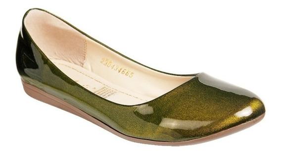Zapato Mejillitas Flats, Piso Color Verde Olivo Charol 434
