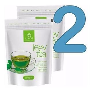 2 Pacotes Chá Misto Verde Akmos Para Emagrecer Leev Tea 150g
